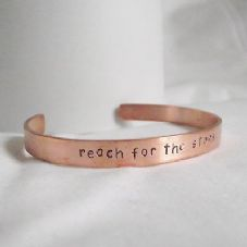 "Lovely Handmade Recycled Copper ""reach for the stars"" Statement Cuff Bangle"